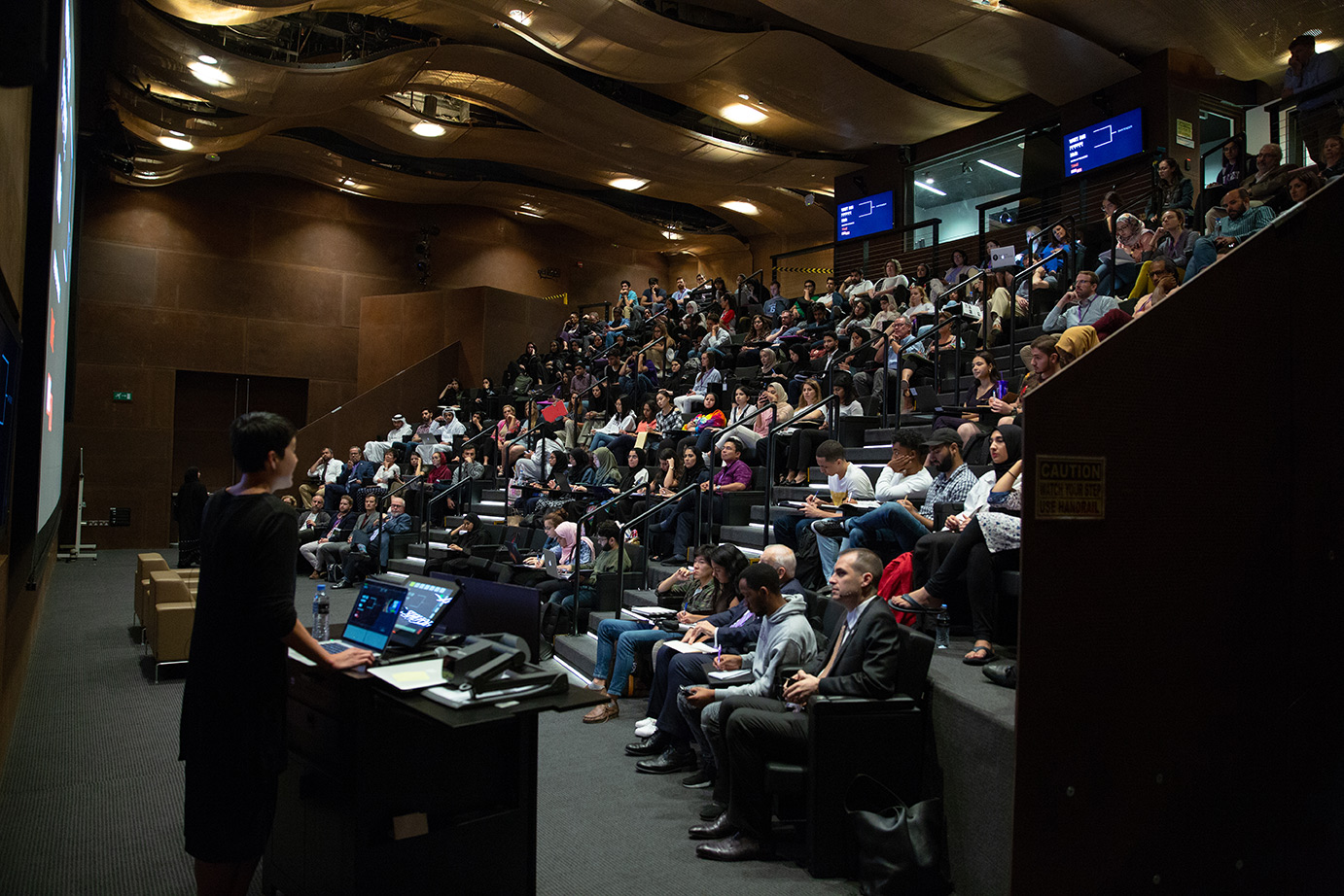 The auditorium, which fits 115 people, features a large HD projector and can be used to record and stream live events.