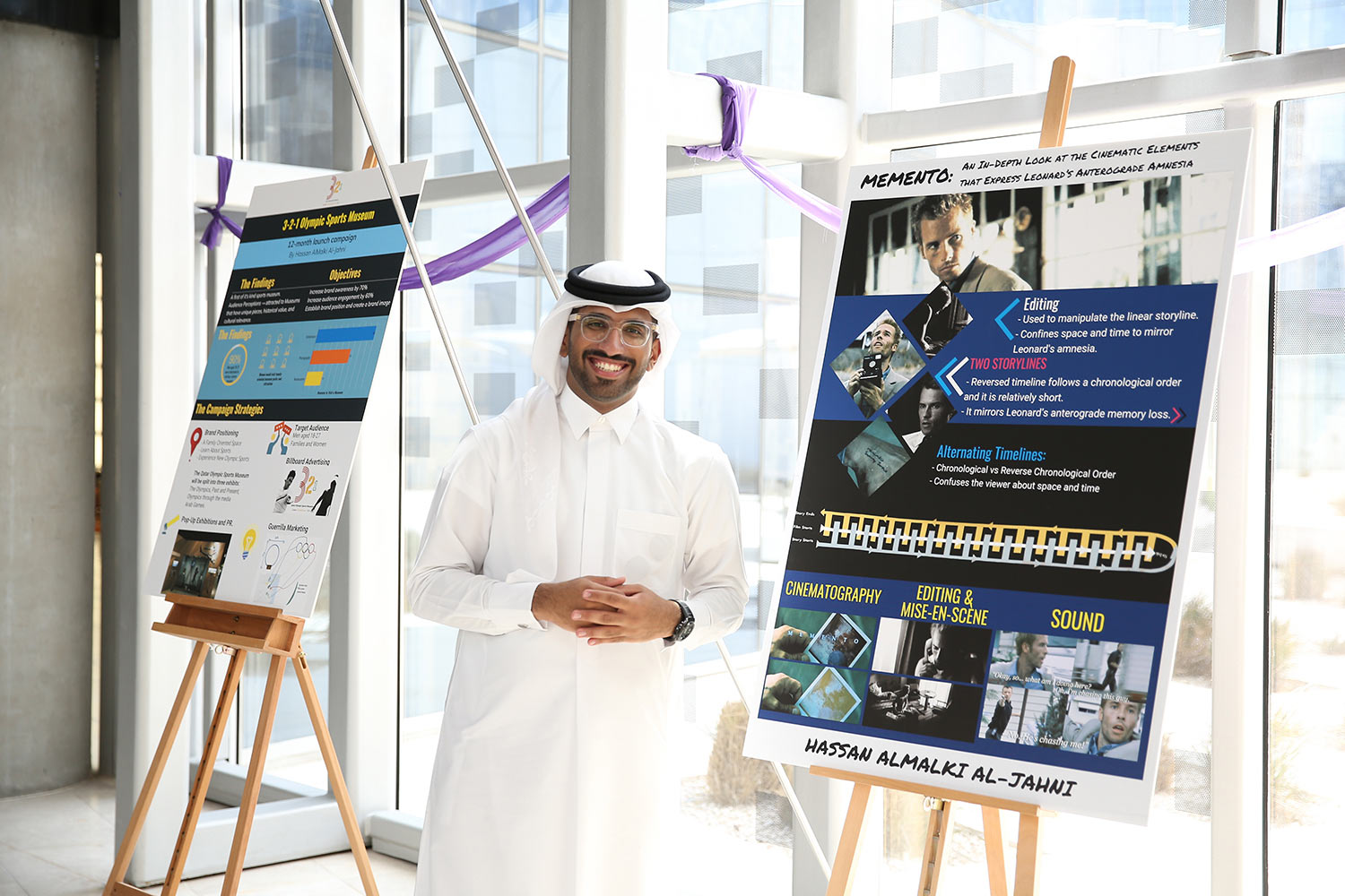 Student Hassan Al-Jahni won awards for creative writing and strategic communication